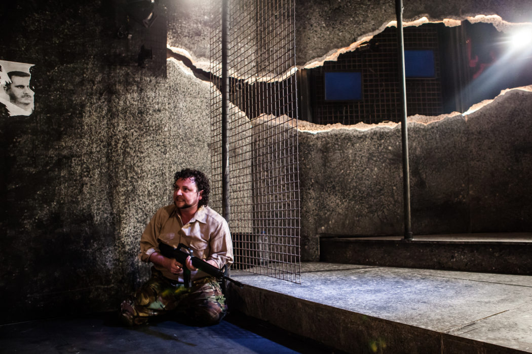©Richard Davenport 2012, The Finborough Theatre, London UK. The Fear of Breathing – Stories from the Syrian Revolution. Edited & Directed by Zoe Lafferty. Designed by Philip Lindley. Presented by The Moving Theatre